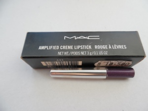 LIPS:  MAC Girl About Town lipstick;  Body Shop Glowing Amethyst eyeliner